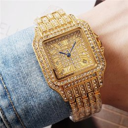 black diamonds for cheap UK - Fashoin brand quartz movement watches for women iced out full diamond bracelet strap good quality dress watch auto date cheap designer watch