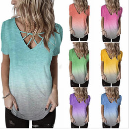 rainbow tshirt Australia - Cross Tees Summer Designer Rainbow Gradient Printed Tshirt Females Plus Size Casual Tops Womens V-neck Chest