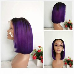 straight cut bob wig Australia - A Preplucked Indian Straight Human Hair Lace Front Wig Short Pixie Cut 1b Purple Ombre Bob Wigs For Black Women Colored Glueless Full L