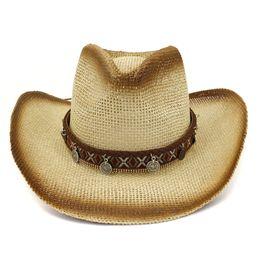 bdb10494 Brown Spray Paint Paper Straw Cowboy Hats Mens Womens Panama Style Jazz Cap  Wide Brim Beach Sunhat Sun Visor Caps Sombrero