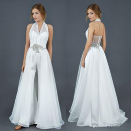 Ruched Halter Wedding Dresses Australia - Halter Chiffon Stain Bridal Jumpsuit with Overskirt Train Modest Fairy Beaded Crystal Belt Beach Country Wedding Dress Jumpsuit