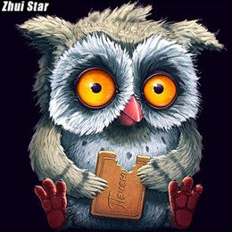 "cute owl paintings 2019 - Full Square Diamond 5D DIY Diamond Painting ""Cute owl"" Embroidery Cross Stitch Rhinestone Mosaic Painting Home"