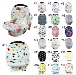 strollers wholesale Canada - INS Floral Baby Nursing Cover Breast Feeding Cover 56styles Baby Carseat Canopy Stretchy Stroller Canopy Cover Baby Swaddle Blankets