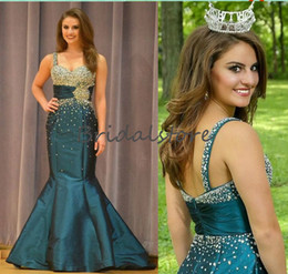 Taffeta Mermaid Prom Dresses Australia - Beautiful Teal Green Mermaid Prom Dresses Beaded Crystal Strap MISS USA pageant Evening Gown Backless Taffeta Holiday Special Occasion Dress