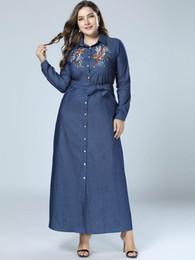 aa0612d0ecec Plus Size 4XL Denim Dress Women Embroidery Floral Bandage Cowboy Shirt  Dresses Ladies Big Size Loose Jeans Maxi Dresses