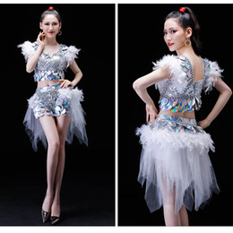 4b22db085e7 Women adult jazz hip hop club DS dance costume leather feather sexy DJ  Stage clothes fish skirt red silver green blue