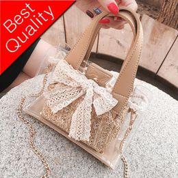 $enCountryForm.capitalKeyWord Australia - Elegant Female Lace Bow Tote bag 2019 Summer Transparent Jelly Bag Quality Women's Designer Handbag Chain Shoulder Messenger Bag