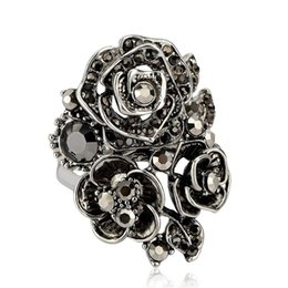 cac2d7a1a ZORCVENS Black Rose Flower Big Vintage Rings For Women Unique Retro Crystal  Rhinestone Jewelry Luxury Gift