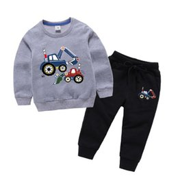 children cars cartoon NZ - BINIDUCKLING New Spring Autumn Boys Outfit Set Cotton Cartoon Car Pattern Long Sleeve Pullover+Pants Clothes For Kids Children
