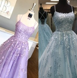 ice blue pageant dresses Australia - Long Prom Dresses 2020 Ballgown Lilac Lace Pageant Gowns Light Ice Blue Lace Up Back Formal Event Wear Spaghetti Neckline Real Pictures