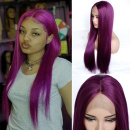 synthetics 16 inch wigs hair Australia - 150% Density Purple Straight Hair Wig Glueless Natural Hairline Colored Long Straight Hair Synthetic Lace Front Wigs for Women Full Wig
