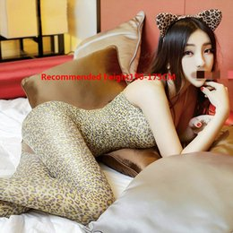 Wholesale Sexy Underwear Women s Sexy Suspension with Open Crotch Leopard print Couplet Socks