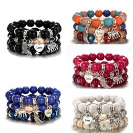 ElEphant jEwElry sEts online shopping - 3PCS Set Bohemian Beaded Bracelet for Women Elephant Wings Love Ball Bangles Stretch Stackable Bracelets Set Charm Multicolor Jewelry M257F