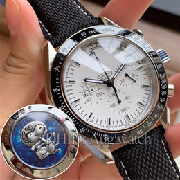 Imported batterIes online shopping - Apollo Snoopy Award Limited Watches Chronograph Sport White Dial Steel Case Leather Strap Import Quartz watch with back snoopy watch R336