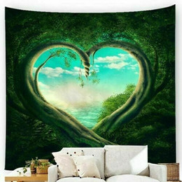 hanging decoration hearts UK - Green Heart Shaped Tree Tapestry Art Wall Hanging Home Bedroom Decoration