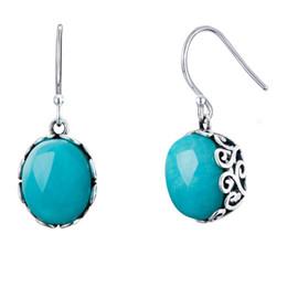 $enCountryForm.capitalKeyWord Australia - 925 Sterling Silver with Oval Blue Amazonite Dangle Drop Earrings Handcraft Chinese Style Women Ear Jewelry