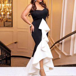 $enCountryForm.capitalKeyWord Australia - Women Long Party Dress Sexy Ruffle Patchwork Black White Contrast Color Tight Elegant Celebrate Dinner Evening Maxi Bodycon Robe T5190615