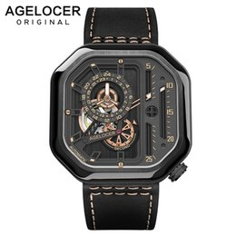 Wholesale AGELOCER Swiss Sport Watches Self wind Automatic Skeleton Watch Steel Waterproof Mechanical Watch Square Lumious reloj hombre