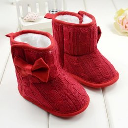 Discount boot baby knitting - Winter Toddler Fleece Snow Boot Baby Shoes Infant Knitted Bowknot Crib Shoes Baby Warm