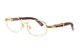 Orange beach sunglasses online shopping - buffalo horn glasses wood sunglasses for men high quality brand designer bamboo wood frame brown clear lenses round sunglasses