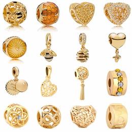 Clip Charms Free Shipping Australia - free shipping 2018 new golden heart&bee honey comb family tree infinity flower love clip&bead Fits Pandora Charm Bracelet mix051