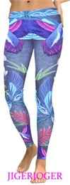 bird leggings Australia - JIGERJOGER Dark Blue Dragonfly birds lotus 3D digital print Plus size women's YOGA Leggings manufacturers wholesale drop shiping #103849