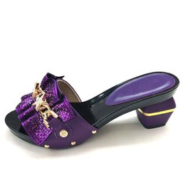 $enCountryForm.capitalKeyWord UK - New Arrival High Heels Open Toe African Sandals Nigerian Women Party Wedding Shoes Summer Slip on Shoes for Women Purple Color