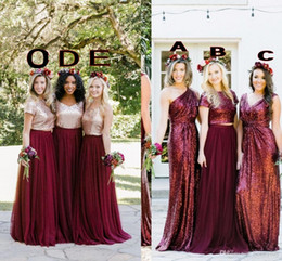 Red Mixed Bridesmaid Dresses NZ - Country Rose Gold Sequined Top Burgundy Bridesmaid Dresses Mixed Neckline Straps A Line Tulle Maid Of Honor Wedding Party Guest Dress