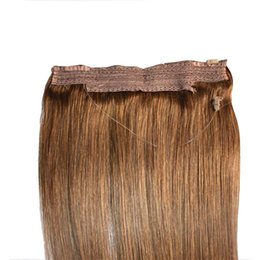 Chinese  CE Certificated Brazilian Human Hair No Clips Halo Flip in Hair Extensions, 1pc 80G 100G Easy Fish Line Hair Weaving Wholesale Price manufacturers
