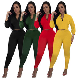 climbing stands 2019 - Women designer tracksuit long sleeve pantsuit outfits hoodie sportswear 2 piece set sexy crop tops legging suit women cl