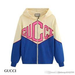 venda por atacado Colorblock zipper cardigan camisola terry 2019 outono e inverno novos homens homens da moda do hoodie e mulheres encapuzados camisola M-2XL