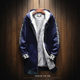 Parkas For Winter Australia - Trendy Hooded Winter Jacket Velet Mens Male Coat Solid Slim Fit Mens Winter Parkas Ropa Thick Jackets For Men 2018 4MF009