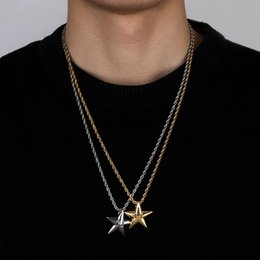 Man Hot Chain Model Australia - Explosion Models Hot Fashion Accessories Five-pointed Star Hip Hop Men Women Pendant Two-tone Gold-plated Jewelry Necklace