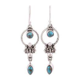 $enCountryForm.capitalKeyWord NZ - Bohemia dangle earrings retro vintage gold silver plated round hoop shape boho turquoise earring for women summer fashion jewelry wholesale