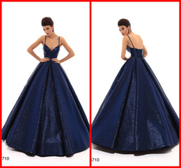Navy Straps Australia - Blingbling Navy Blue 2019 Prom Evening Dresses Ball Gown With Spaghetti Straps Simple Cheap Long Backless Quinceanera Party Dress TK