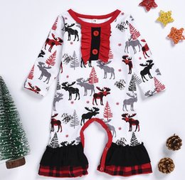 baby kids santa christmas clothing NZ - Newborn Infant Baby Boy Clothes Brand 2019 New Christmas Romper Toddler Baby Girls Long Sleeve deer printing Santa Claus Kids Jumpsuit