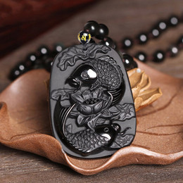 $enCountryForm.capitalKeyWord Australia - Drop Shipping Fine Carving Obsidian Two Fish And Lotus Black Obsdian Pendant Men's Jewelry C19041704