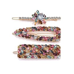 head flower hair clip accessories UK - Fashion Crystal Flower Long Hair Clip Women Za Hairpins Wedding Bridal Hairclip Barrettes Head Wear Ornament Hair Accessories