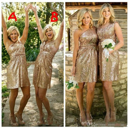 $enCountryForm.capitalKeyWord NZ - 2019 Short Gold Bridesmaid Dresses Short Honor Of Maid Formal Gowns For Summer Wedding Guest Bling Bling Sequins Cocktail Party Gowns