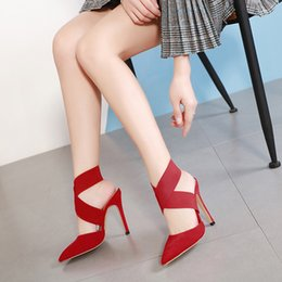 sexy red sandals low heel Australia - Hot2019 Wind All-match Sexy Matting Split Joint Fine With Grace Sexy Ma'am Sandals