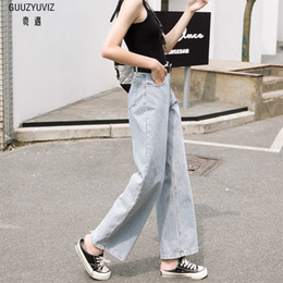 Bottoms Guuzyuviz Vintage Casual Autumn Winter Jeans Woman High Waist Patch Work Cotton Washed Denim Pants Mujer Wide Leg Trousers Durable Service Women's Clothing