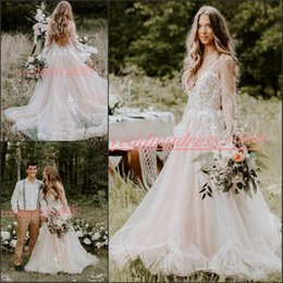 Chiffon lavender online shopping - Beautiful Illusion Beach Chiffon Lace Wedding Dresses Long Sleeve Backless African Bride Vestido de novia Sheer Tulle Formal Bridal Gown