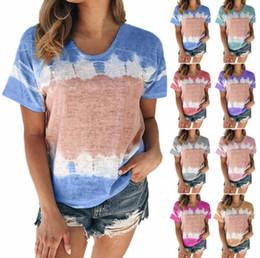 Wholesale causal shirts online – Women Gradient Shirts S XL Summer Short Sleeve Round Neck T shirt Loose Causal Patchwork Color Shirt Girls Tops LJJO7678