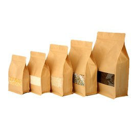 store windows UK - 100pcs Stand up Food Moisture-proof Bags Kraft Paper Bag Pouch with Zip Lock and Transparent Window for Storing Food Candy Tea Coffee