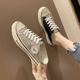 Spring Fall Canvas Shoes Australia - Flat bottom half slippers female spring and summer new no heel one foot baotou casual sequins wear lazy canvas shoes