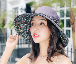 Ladies smaLL sun hats online shopping - Fisherman hat summer outdoor lady sun block hat big brim hat can fold and go with small broken flower spring