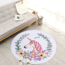 $enCountryForm.capitalKeyWord NZ - Cartoon Unicorn Round Carpets For Living Room Children Bedroom Rugs And Carpets Computer Chair Floor Mat Cloakroom