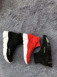 Venta al por mayor de WM11 descuento Speed Trainer Botas Calcetines de punto de estirado-top del alto de la zapatilla de deporte del instructor zapatos baratos Negro b Hombre blanco Mujer Parejas Zapatos cargadores ocasionales