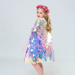 $enCountryForm.capitalKeyWord Australia - Mermaid Cloak Colorful Sequins Cape Glittering Baby Girls Princess dresses Boutique New Halloween Party Cape Costume cosplay props AA19198