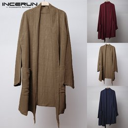 $enCountryForm.capitalKeyWord Australia - INCERUN Vintage Men Long Cloak Cape Trench Coat Long Sleeve Cotton Irregular Baggy Casual Outwear 2019 Autumn Loose Jacket
